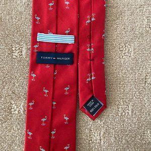 TOMMY HILFIGER Red Flamingo 100% Silk Tie
